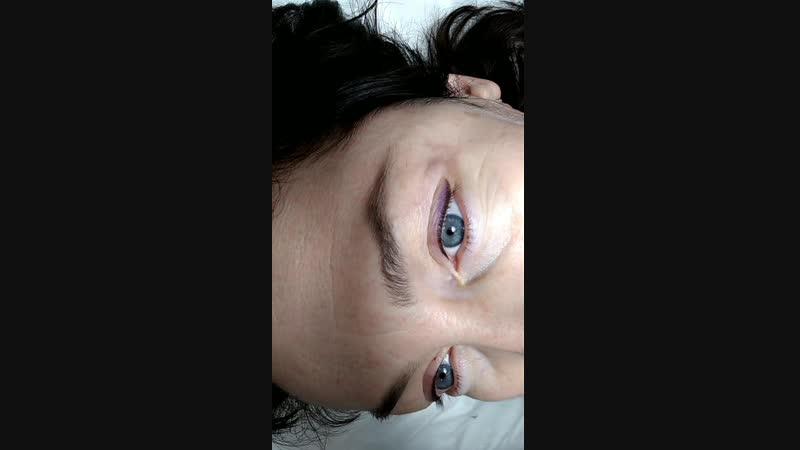 Перманентный макияж век Эффект теней сразу после процедуры.