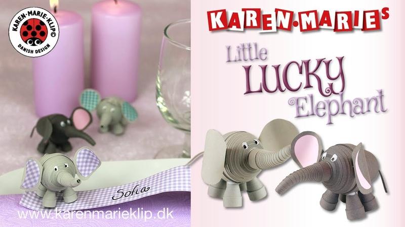 Lucky Quilling Elephant - Karen Marie Klip Papir