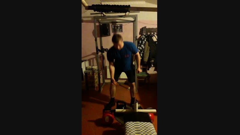 комбенированный подъем Кляйна Знаменского гиря 24 кг первая проба