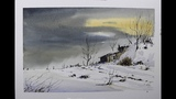 Skecthing winter scene,pen and wash and watercolor tutorial.Nil Rocha