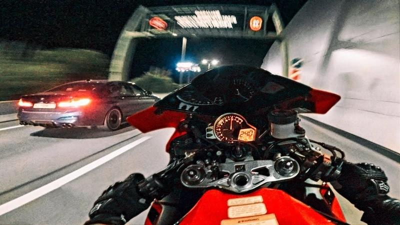 Мотоцикл против BMW M5 Competition Устроили гонки по городу