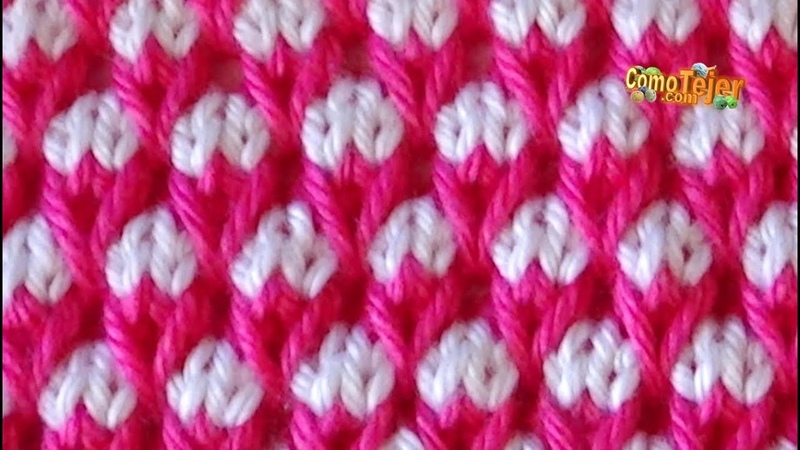 Cómo Tejer Punto TURCO en COLORES - How to Knitting Stitches. Colors-2 agujas (495)