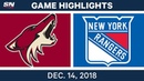 NHL Highlights Coyotes vs Rangers Dec 14 2018