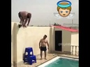Fat man jump in pool tsunami
