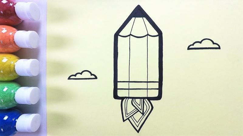Rocket Pencil coloring drawing studying English for kids ㅣ 로켓 연필 그리기 색칠하기 영어 공부