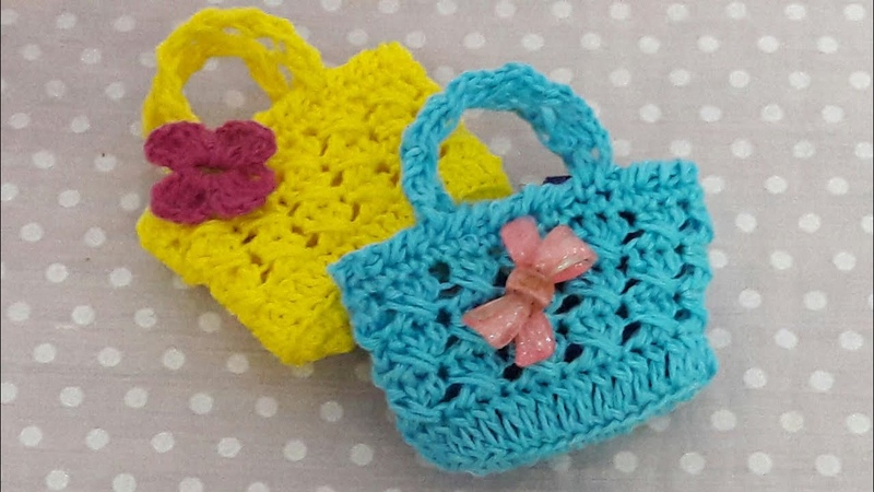 كروشيه mini Bolsita de crochetمينى شنطه ميداليه