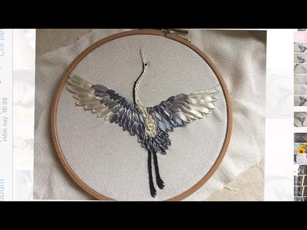 D.I.Y Ribbon Embroidery Bird Hướng dẫn thêu ruy băng chim hạc