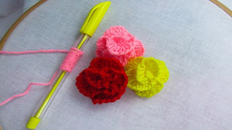 Hand Embroidery amazing trick Sewing Hack with Pen Easy Rose Flower Embroidery Trick