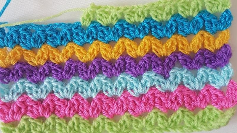 Basit Tığişi V Model Battaniye Easy V Stitch Blanket