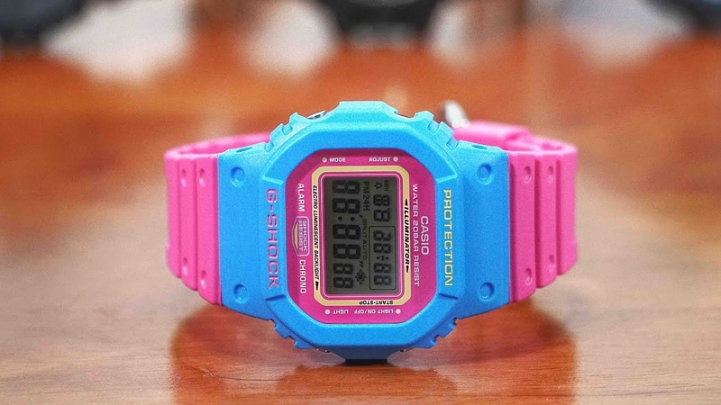 G-Shock DW-5600TB-4BJF PINK BLUE Throw Back 1983 series watch unboxing review