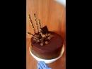 Торт Для себя (маковый бисквит с кремом брюле классическим и шоколадным, арахис, изюм)