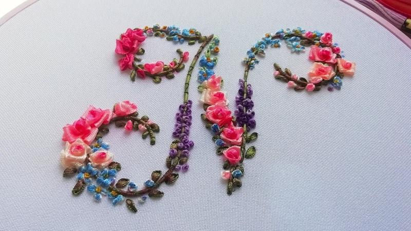 Silk ribbon Embroidery  letter N   Вышивка лентами   Bordado con cinta   Letra N