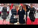 La Reina Letizia radiante con nuevo vestido de Carolina Herrera de raso azul en el Viaje a Perú