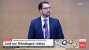 Jimmie Åkesson (SD) Tal innan Stefan Löfven (S) blir Röstad som Statsminister 2019