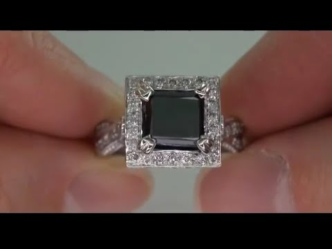 Exotic Fancy Black and White Diamond Engagement Ring Up For Auction on eBay