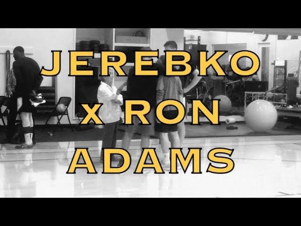 Jonas Jerebko with Ron Adams, who shoots lefty free throws, then gets hug from Steve Kerr