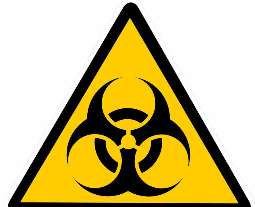 Знак биологической опасности, который используется для маркировки медицинских отходов.