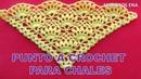 Punto a crochet Piñas combinado con puntos garbanzos para CHALES TRIANGULARES o en punta