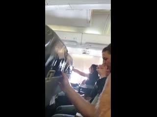 Intense turbulence during flight (stewardess sent flying)