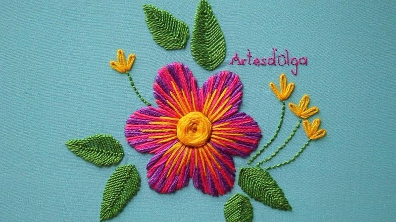 Hand Embroidery Multicolor Satin Stitch | Bordados a Mano Punto Relleno Multicolor | ArtesdOlga