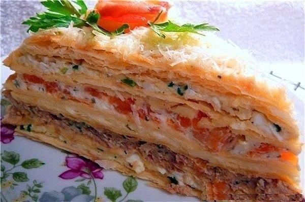 Рецепты вкусных закусочных тортов!