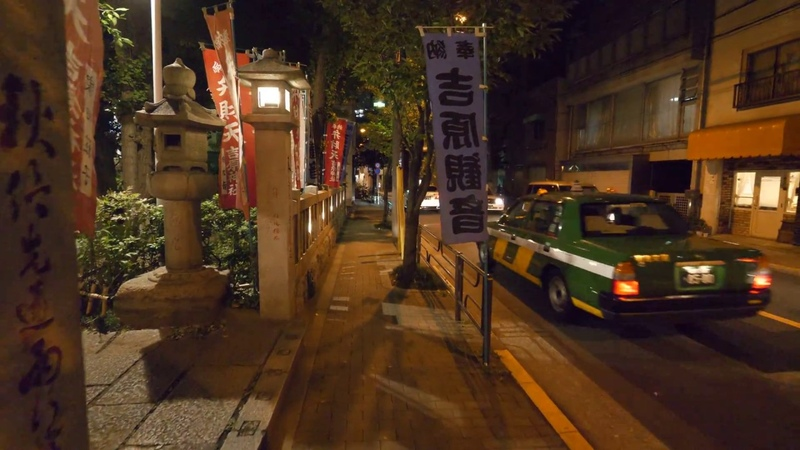 【4K】Night walking from Iriya to Yoshiwara and Sumida river