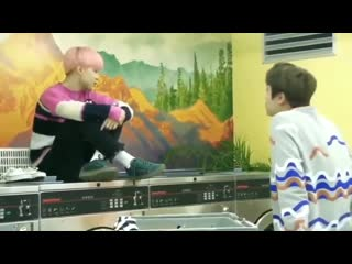 Jimin teases jin - jins brain open his shoelaces - jimin imitates him - jin ahh too talkative - - bts jin jimin jinmin @bts_twt