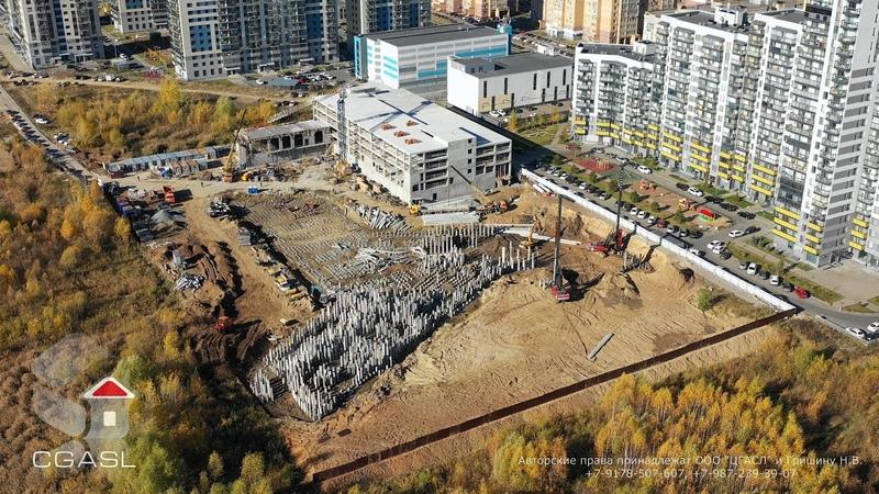 Аэросъемка строительства медицинского центра по ул. Козина (Татарстан, Казань)
