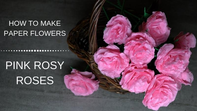 305 DIY Paper Flowers Pink Rosy Roses/ Art Paper Flowers/ Flori din hartie