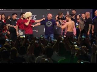 Conor McGregor vs Khabib Nurmagomedov weigh-in_ Conor kicks out, Drake rocks Iri