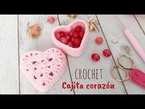 Cajita de amor en forma de corazón tejida a crochet 💗 Tejiendo Perú