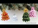 DIY Kanzashi karácsonyi fenyő függődísz / How to make kanzashi Christmas tree ornaments