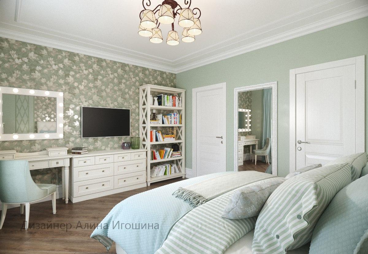 Спальня в мятно - зеленых тонах
