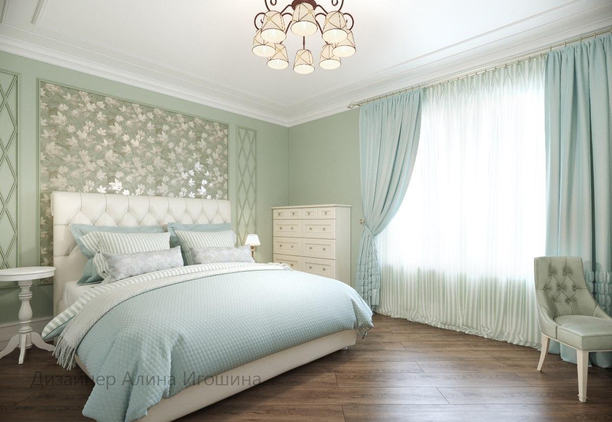Спальня в мятно — зеленых тонах