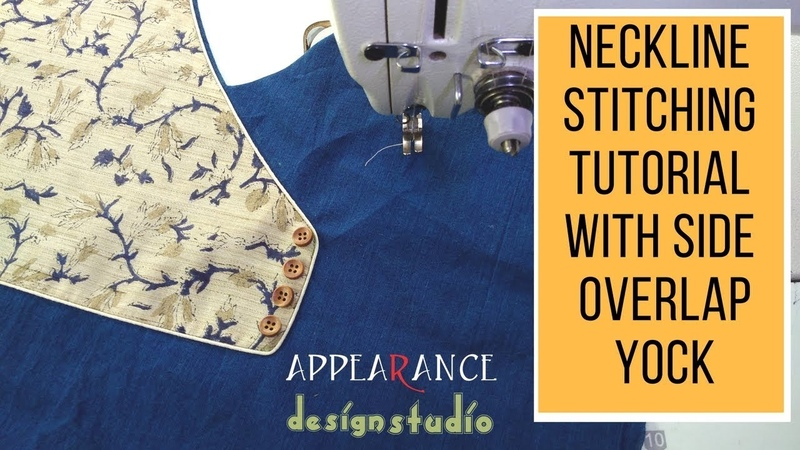 Neckline stitching tutorial with side overlap yock easy making