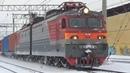 Казанка в новом 2019 году Электровоз ВЛ10У 485 с контейнерным грузовым поездом