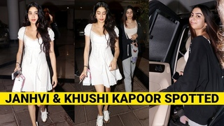 Janhvi Kapoor and Khushi Kapoor visit Manish Malhotra at his residence in Mumbai