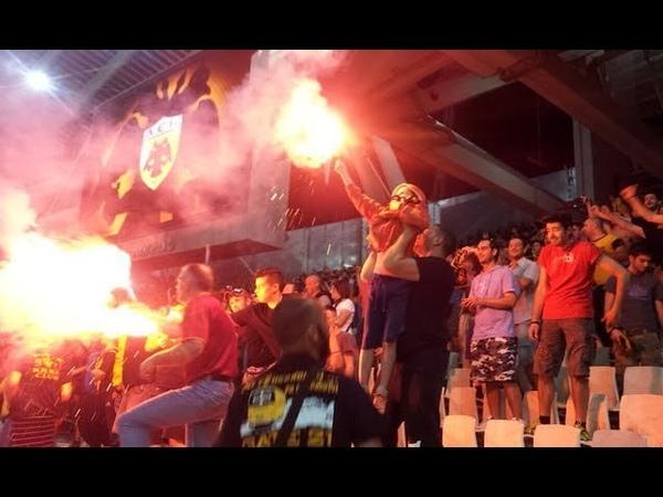AEK ATHENS VS OLYMPIACOS PIRAEUSACABGREAT PYRO FROM ULTRAS AEK 7.10.2018