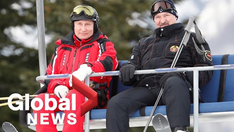 Vladimir Putin hits ski slopes in Sochi with Belarus President Lukashenko