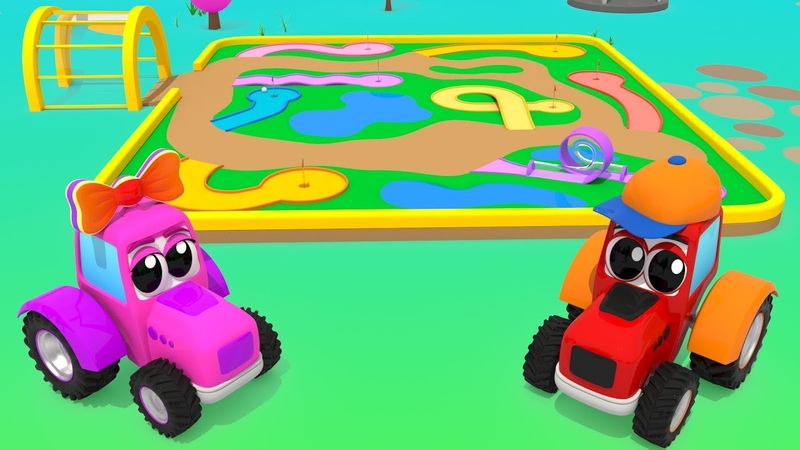Magic Farm Cartoon - Play in Mini Golf with Small Tractors | For Kids