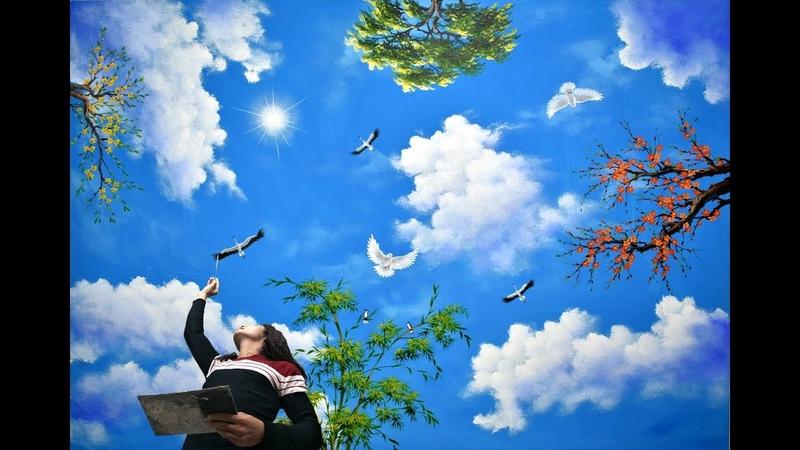 Vẽ trần mây 3d, video tóm tắt trong K.học vẽ tranh tường, do T.tâm Mỹ Thuật Việt T.chức 0969033288