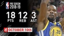 Kevin Durant Highlights Warriors vs Lakers - 2018.10.10 - 18 Pts, 12 Reb, 3 Ast!