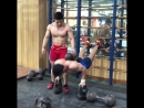 81kg Liu Chun from Wuhan performing a set of weighted push up with 60kg dumbbell on the back. The pecs and triceps are important