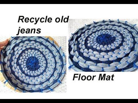 Recycle resuse old jeans demin DIY handmade floor mat door mat carpet area rug