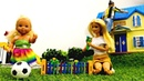 Семья Барби на даче Штеффи играет, Барби и Кен - работают. Мультики с куклами