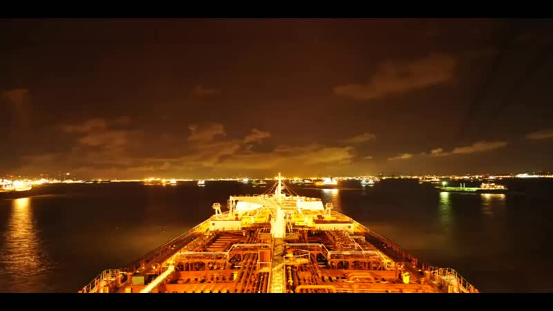 Time Lapse Tanker At Singapore Anchorage