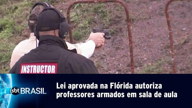 Lei aprovada na Flórida autoriza professores armados em sala de aula | SBT Brasil (04/05/19)