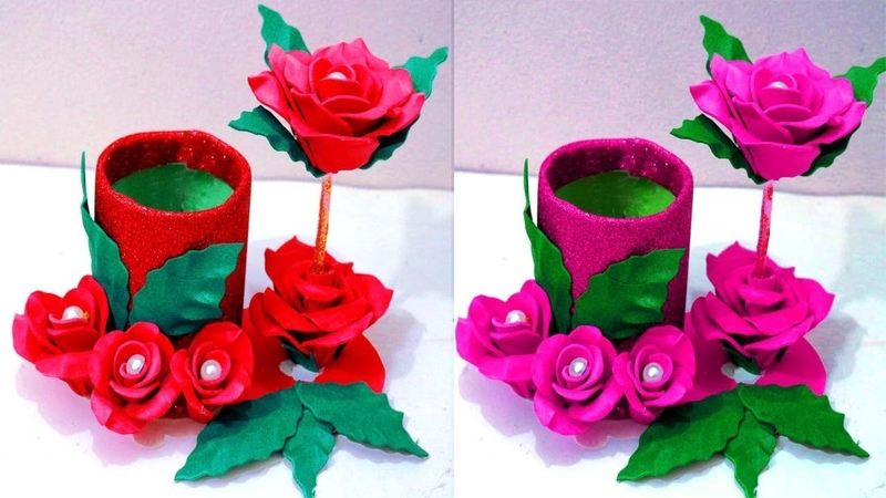 How to make flower vase at home Plastic bottle flower vase Make flower vase at home