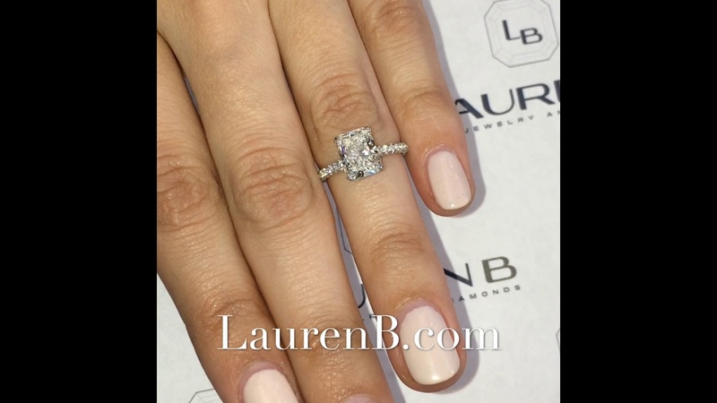 2.02 ct Radiant Cut Diamond Three-Row Band Engagement Ring