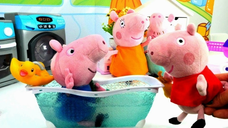 George Pig Tomando banho de Banheira . Peppa Pig Português Brasil. Vídeo de brinquedos.
